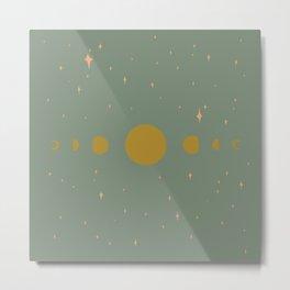 Moon Phases Green Metal Print