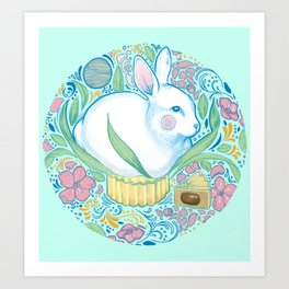 Mid-Autumn Bunny Art Print