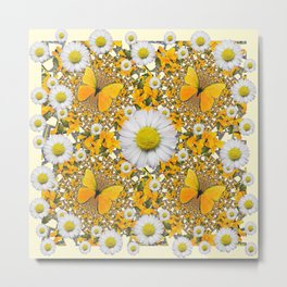 MONTAGE WHITE DAISIES  GREEN FROGS & BUTTERFL IES Metal Print
