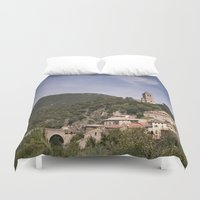 france Duvet Covers featuring Olargues France by Maria Heyens