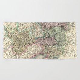 Vintage Map of Austria (1801) Beach Towel