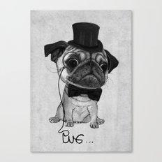 Pug (gentle pug) B&W version Canvas Print