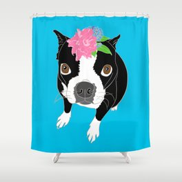 Boston Terrier Illustrated Print Shower Curtain