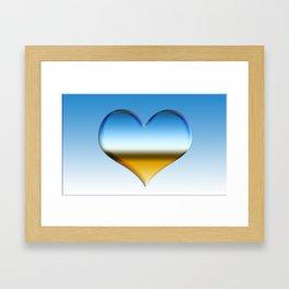 Blue heart with golden touch  Framed Art Print