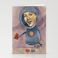 spaceship Stationery Cards featuring SPACESHIP by busymockingbird