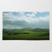 kendrick lamar Area & Throw Rugs featuring lamar valley by Sarah Stewart