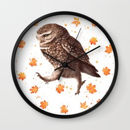 Autumn owl with leaves Wall Clock