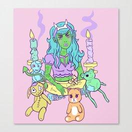 Pastel Goth Demon Girl Canvas Print