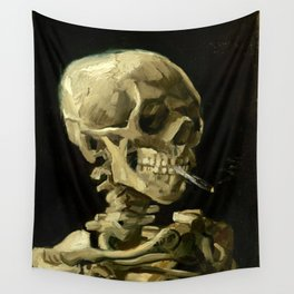 Skull Of A Skeleton With A Burning Cigarette - Vincent Van Gogh Wall Tapestry