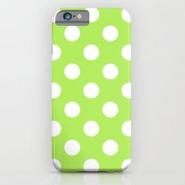 Inchworm - green - White Polka Dots - Pois Pattern iPhone Case