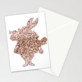 Sparkling rose gold Mr Rabbit Stationery Cards