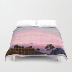 Plaid Landscape Tranquil Sunset Duvet Cover