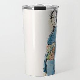 青い着物の女 Travel Mug