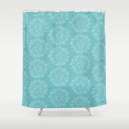 White Floral Medallion on Turqoise Background Shower Curtain
