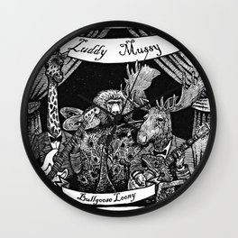 Luddy Mussy/ bull goose looney album cover black and white Wall Clock