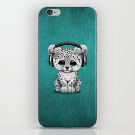 Cute Snow leopard Cub Dj Wearing Headphones on Blue iPhone Skin