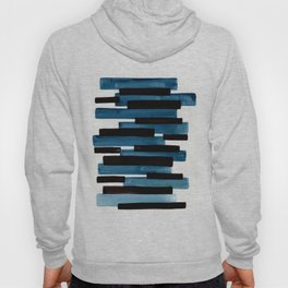 Marine Blue Primitive Striped Mid Century Modern Minimalist Watercolor Gouache Painting Colorful Str Hoody