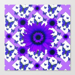 PURPLE FLORALS TEAL BUTTERFLY WHITE PATTERNS Canvas Print
