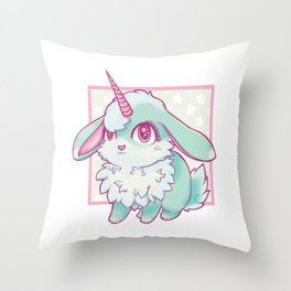 Mint Bunnicorn Throw Pillow