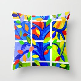 Tree of Life, bright colors Throw Pillow
