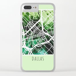 Dallas City Map / Green Clear iPhone Case
