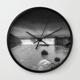 Storm at Goðafoss Wall Clock