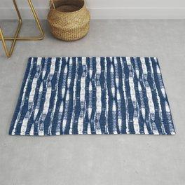 Shibori Stripes Indigo Blue Rug