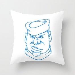 Angry Sailorman Head Cartoon Throw Pillow