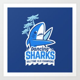 Dancing Sharks Art Print