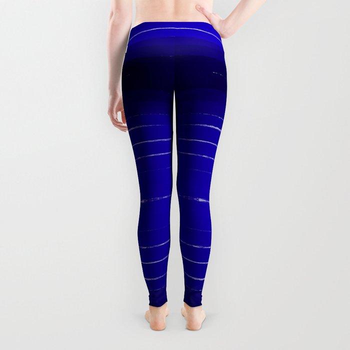 Shel - abstract painting painterly brushstrokes indigo blue bright happy paint abstract minimal mode Leggings