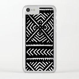 Line Mud Cloth // Black Clear iPhone Case