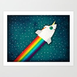 Unicorn Rainbow Rocket Art Print