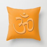 hindu Throw Pillows featuring Hindu om by gbcimages
