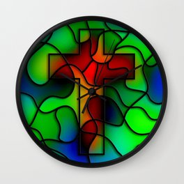 Stained Glass Cross Wall Clock