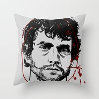 will graham Throw Pillows featuring Will Graham Clock - Hannibal by Soyarts