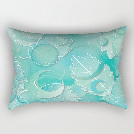 Floating Leaves Pattern IV - Winter, Ice Teal Rectangular Pillow