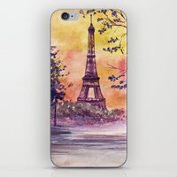 paris iPhone & iPod Skins featuring Paris by Anna Shell