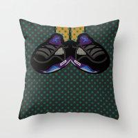 air jordan Throw Pillows featuring AIR JORDAN 5 BLACK by originalitypieces