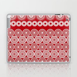 Cute Red Crochet Lace Flowers  Laptop & iPad Skin
