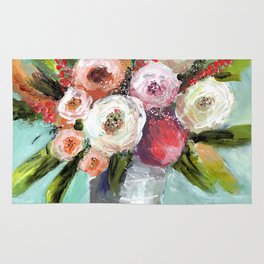 Peach and White Roses Rug