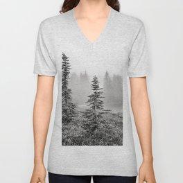 Scenic Landscape Art, Lakeside Wilderness, Fog Unisex V-Neck