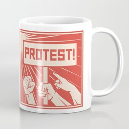 protest design - lots of furious people (man holding transparent, demonstrations) Coffee Mug