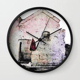 Sassi di Matera with red jacket Wall Clock