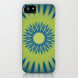Bright Lime Green and Blue Mandala iPhone Case