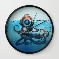 finding nemo Wall Clocks featuring Nemo by Tony Vazquez