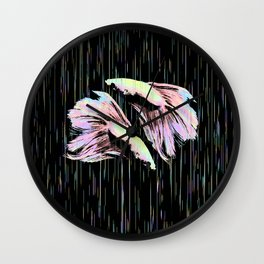 Pastel Siamese Fighting Fish In Electro Synchronicity Wall Clock