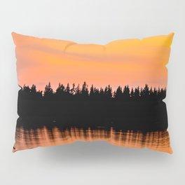 Orange Sunset With Forest Reflection On Lake Pillow Sham