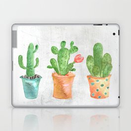 Three Green Cacti Watercolor White Laptop & iPad Skin