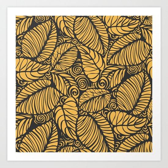 Summer Leaves Gold Art Print