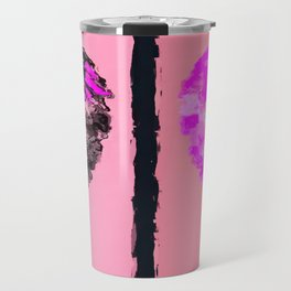pink heart and black heart shape with pink background Travel Mug